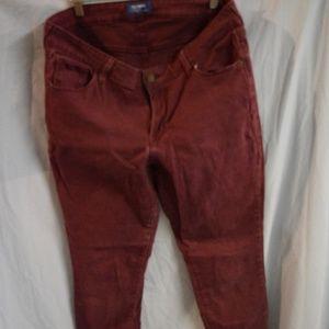 Burgundy Rockstar Ankle Jeans
